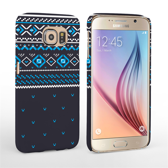 Caseflex Samsung Galaxy S6 Fairisle Case – Grey and Blue Half Pattern