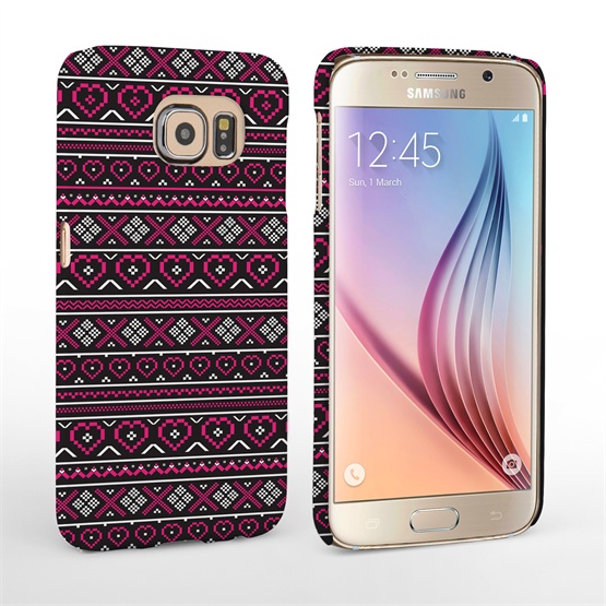 Caseflex Samsung Galaxy S6 Fairisle Case – Pink and Black