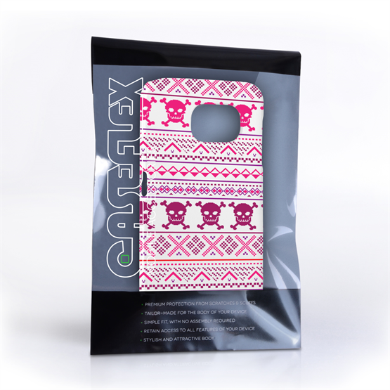 Caseflex Samsung Galaxy S6 Fairisle Case – Pink Skull White Background