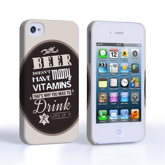 Caseflex iPhone 4 / 4S Beer Label Quote Hard Case – Brown