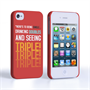Caseflex iPhone 4 / 4S Single, Double, Triple Quote Hard Case – Red