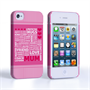 Caseflex iPhone 4 / 4S Mum Word Collage Hard Case – Pink