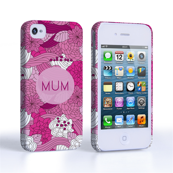 Caseflex iPhone 4 / 4S Retro Swirl Mum Case – Pink