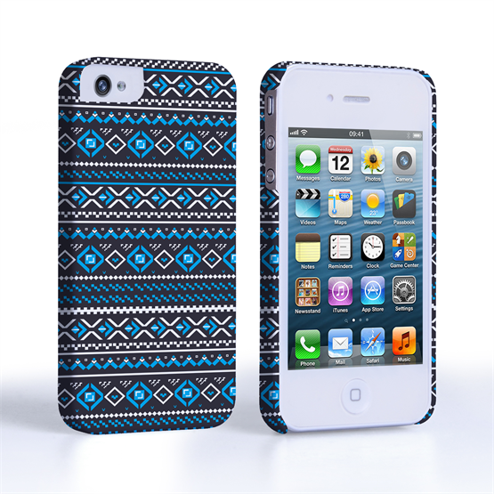 Caseflex iPhone 4/4S Fairisle Case – Grey with Blue Background