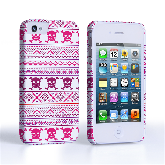 Caseflex iPhone 4/4S Fairisle Case – Pink Skull White Background
