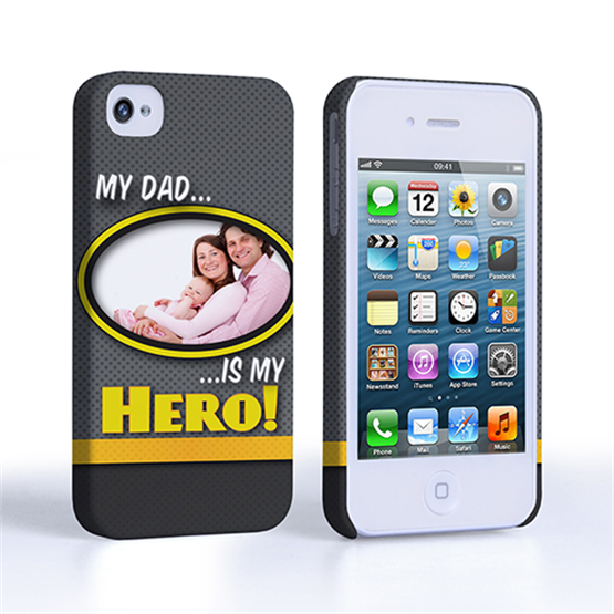 My Dad, My Hero Customised Photo iPhone 4 / 4S Case - Grey
