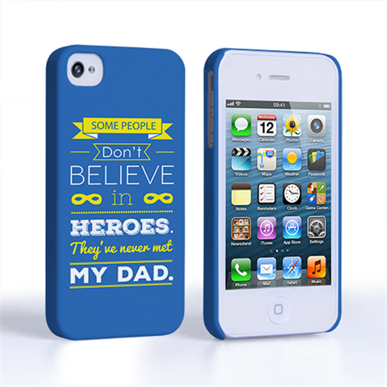 Caseflex Dad Heroes Quote iPhone 4 / 4S Case - Blue