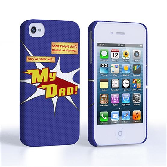 Caseflex My Dad Hero Cartoon iPhone 4 / 4S Case – Blue