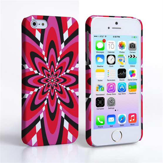 Caseflex iPhone SE Retro Pattern Hard Case - Pink and Red