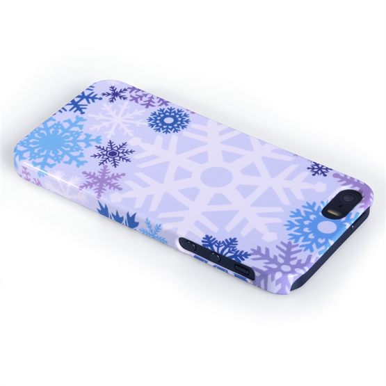 Caseflex iPhone SE Winter Christmas Snowflake Cover – Purple