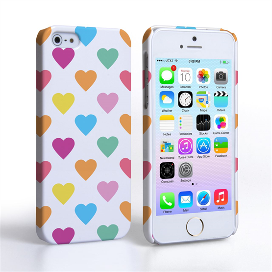Caseflex iPhone SE Polka Hearts Pastel Case
