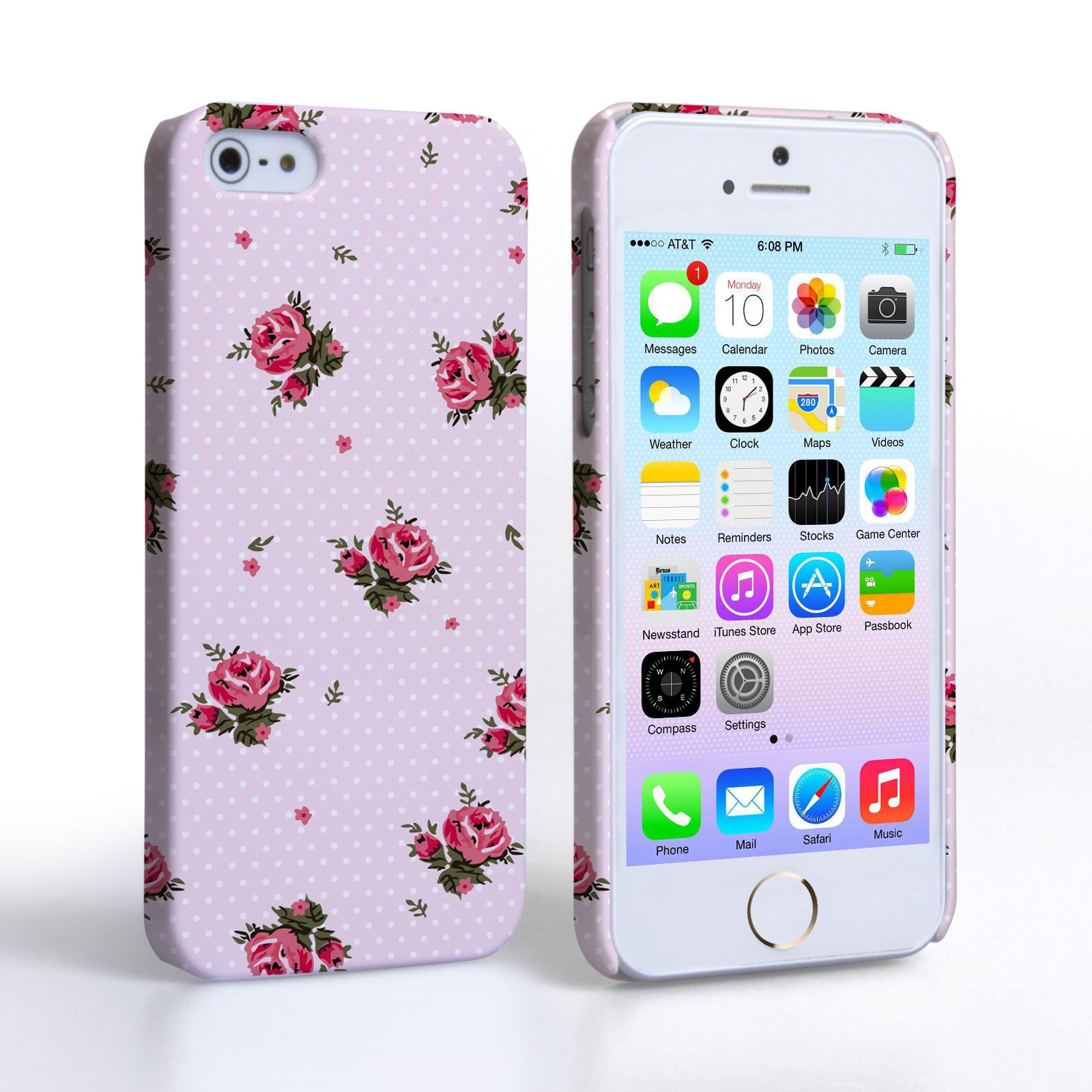 caseflex iphone 5 5s vintage roses polka dot wallpaper hard case pink. Black Bedroom Furniture Sets. Home Design Ideas