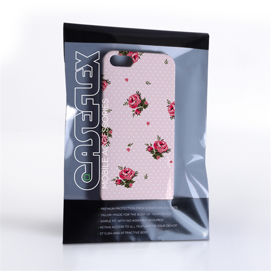 Caseflex iPhone 5 / 5S Vintage Roses Polka Dot Wallpaper Hard Case – Pink