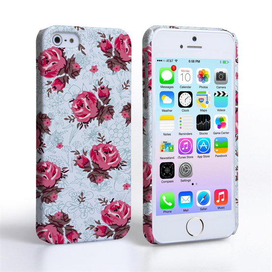 Caseflex iPhone SE Vintage Roses Wallpaper Hard Case – Light Blue