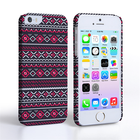 Caseflex iPhone SE Fairisle Case – Grey with Red Background