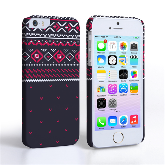 Caseflex iPhone 5/5S Fairisle Case – Grey and Red Half Pattern