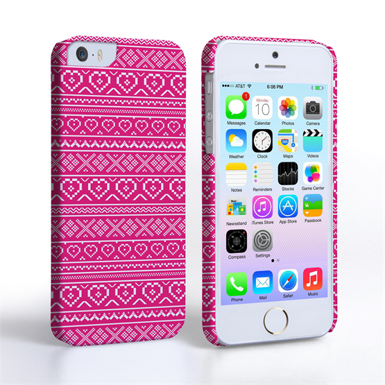 Caseflex iPhone SE Fairisle Case – Pink and White
