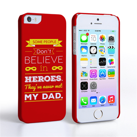 Caseflex Dad Heroes Quote iPhone 5 / 5S Case - Red