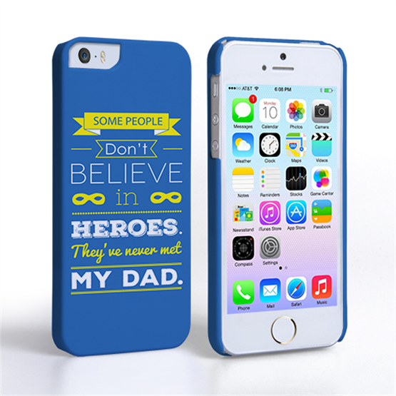 Caseflex Dad Heroes Quote iPhone 5 / 5S Case - Blue