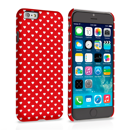 Caseflex iPhone 6 and 6s Cute Hearts Case - Red