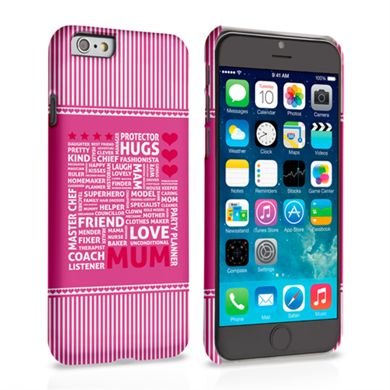 Caseflex iPhone 6 and 6s Mum Word Collage Hard Case – Pink