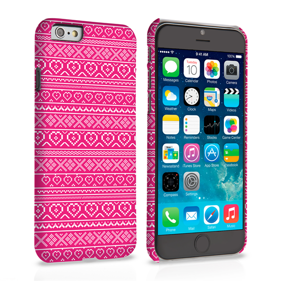 Caseflex iPhone 6 and 6s Case Fair Isle Heart Case - Pink