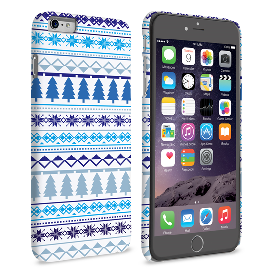 Caseflex iPhone 6 Plus and 6s Plus Fairisle Christmas Tree Hard  - White / Blue