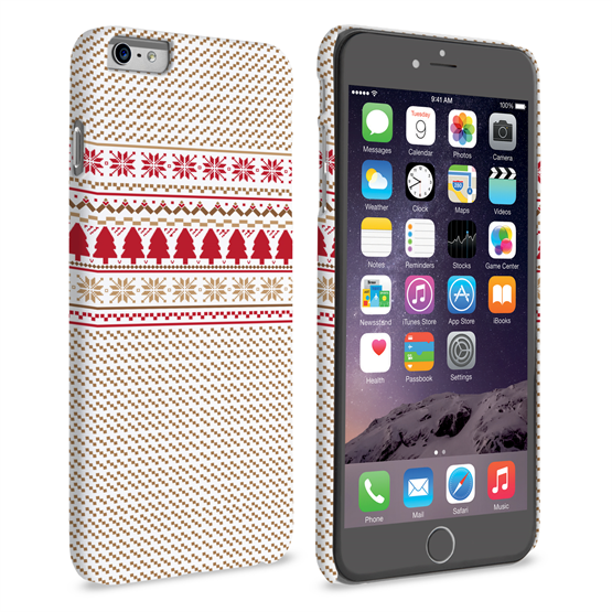 Caseflex iPhone 6 Plus and 6s Plus Christmas Knitted Snowflake Jumper Hard Case - Brown / Red / White