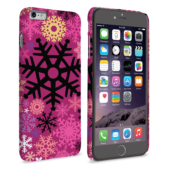 Caseflex iPhone 6 Plus and 6s Plus Christmas Winter Snowflake Hard Case - Burgundy