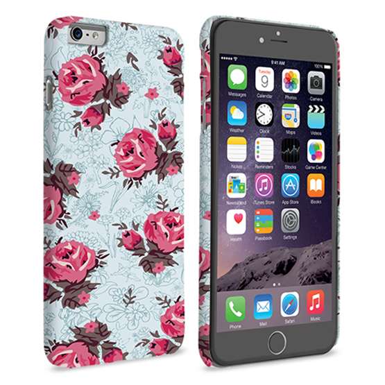 Caseflex iPhone 6 and 6s Plus Vintage Roses Wallpaper Hard Case – Light Blue