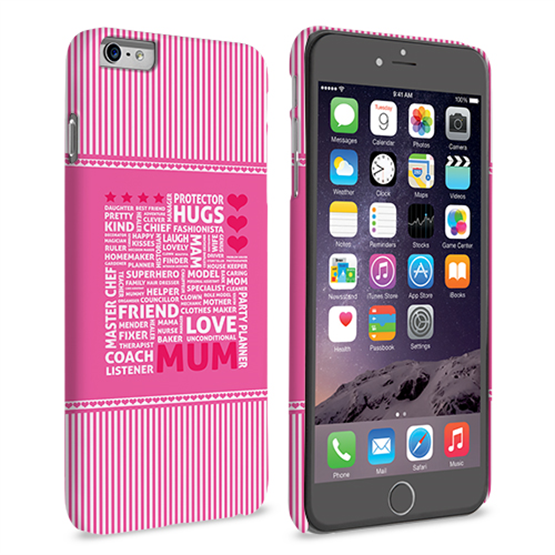 Caseflex iPhone 6 and 6s Plus Mum Word Collage Hard Case – Pink