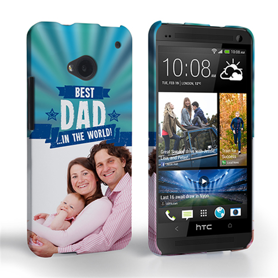 Caseflex HTC One Best Dad in the World (Blue) Case/Cover