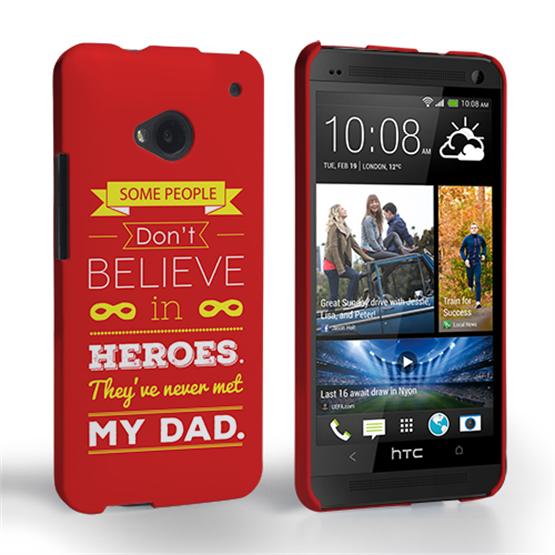 Caseflex Dad Heroes Quote HTC One Case - Red