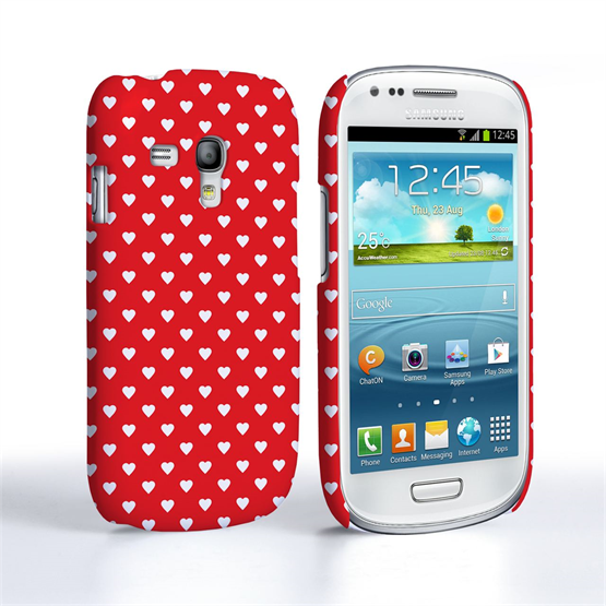 Caseflex Samsung Galaxy S3 Mini Cute Hearts Red and White Case