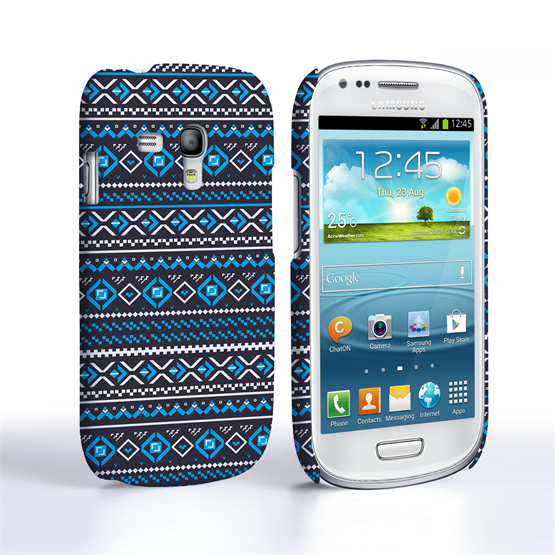 Caseflex Samsung Galaxy S3 Mini Fairisle Case – Grey with Blue Background