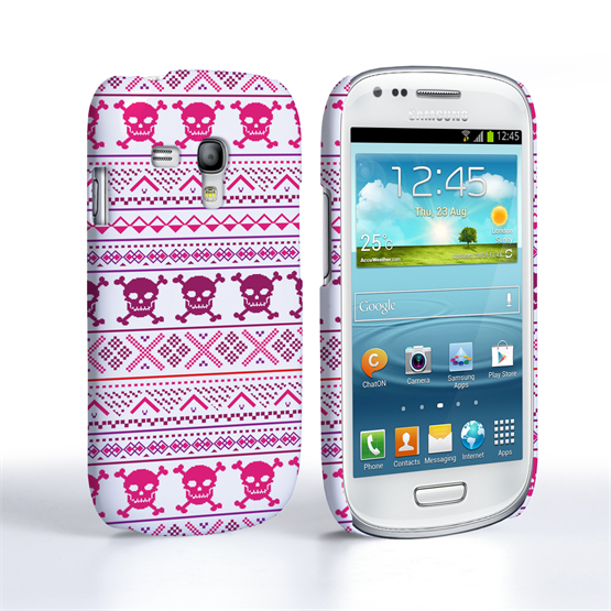 Caseflex Samsung Galaxy S3 Mini Fairisle Case – Pink Skull White Background