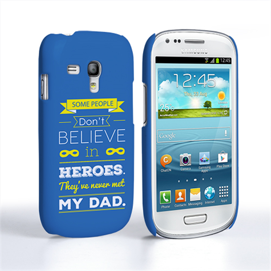Caseflex Dad Heroes Quote Samsung Galaxy S3 Mini Case - Blue