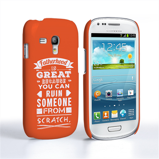 Caseflex Fatherhood Funny Quote Samsung Galaxy S3 Mini Case – Orange