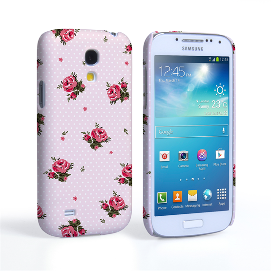 Caseflex Samsung Galaxy S4 Mini Vintage Roses Polka Dot Wallpaper Hard Case – Pink