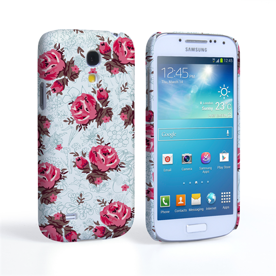 Caseflex Samsung Galaxy S4 Mini Vintage Roses Wallpaper Hard Case – Light Blue