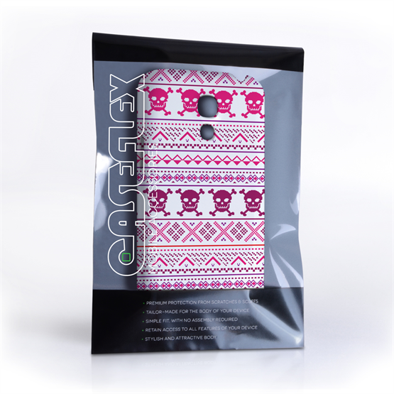 Caseflex Samsung Galaxy S4 Mini Fairisle Case – Pink Skull White Background