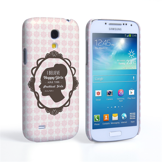 Caseflex Samsung Galaxy S4 Mini Audrey Hepburn 'Happy Girls' Quote Case