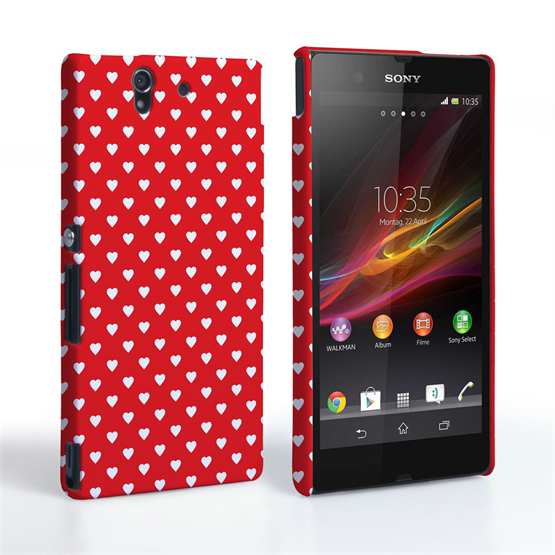 Caseflex  Sony Xperia Z Cute Hearts Red and White Case