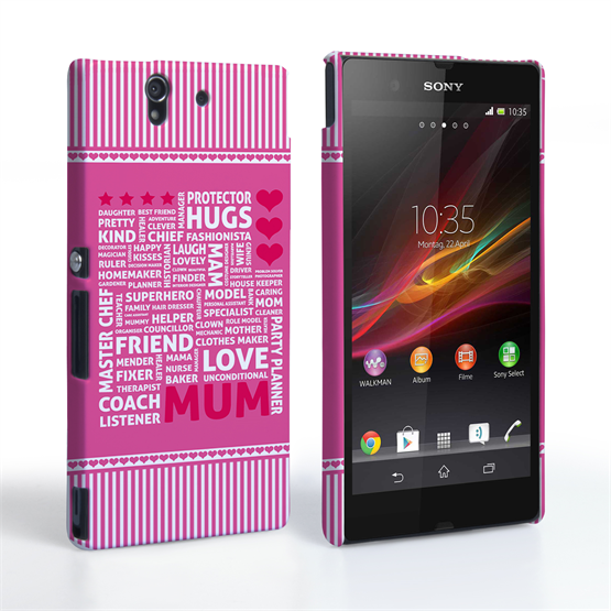 Caseflex Sony Xperia Z Mum Word Collage Hard Case – Pink