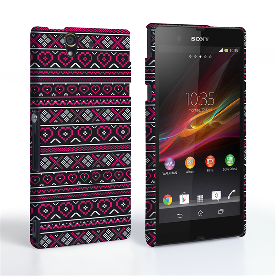 Caseflex Sony Xperia Z Fairisle Case – Pink and Black