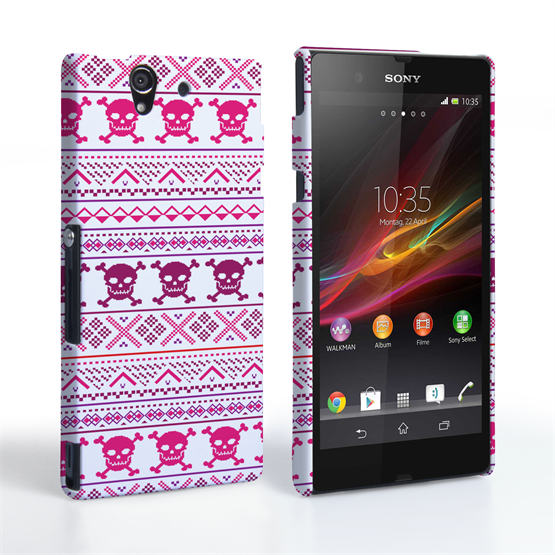 Caseflex Sony Xperia Z Fairisle Case – Pink Skull White Background
