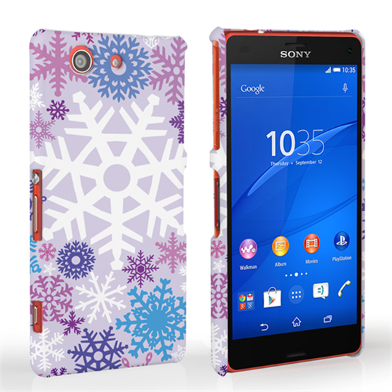 Caseflex Sony Xperia Z3 Compact Winter Christmas Snowflake Hard Case - Purple / Blue