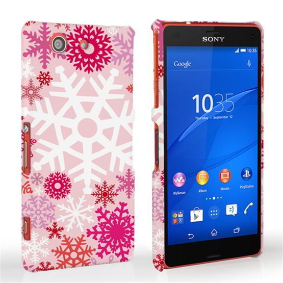 Caseflex Sony Xperia Z3 Compact Winter Christmas Snowflake Hard Case - Red / Pink
