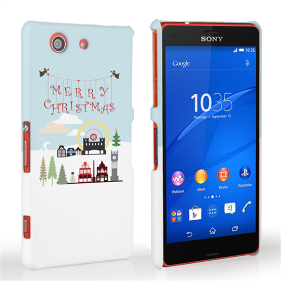 Caseflex Sony Xperia Z3 Compact  Merry Christmas Pattern Hard Case