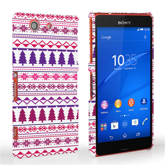 Caseflex Sony Xperia Z3 Compact Christmas Tree Hard Case - Pink / Purple